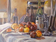 Still life, of bottles, beer and fruit, painted in Dorset area
