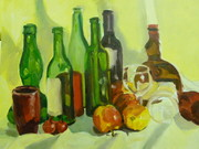 Still life of red and green bottles, painted in Southwark