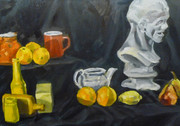 Still life of fruit and cups, painted in Southwark, in oil