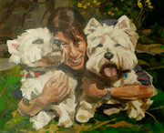 Painting of dogs Bonnie and Clyde in Primrose Hill, in oil