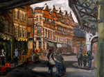 Streetscape of Borough Market, painted in oils
