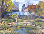 Landscape painting of scene in London Bridge arlandscape painting in oil, looking across at the Gherkin, in oil