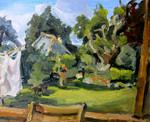 Landscape painting of scene in Dalham village, Suffolk