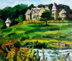 Landscape painting of scene in Scotland, in oil